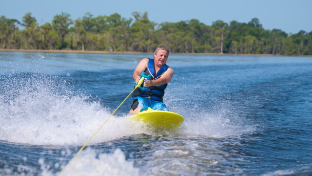 kneeboard rider on hilton head watersports trip