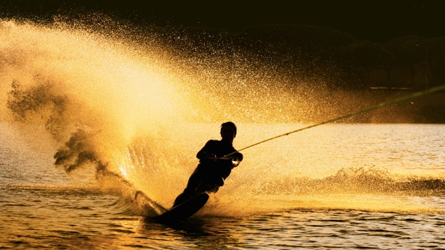 water ski in hilton head at sunset
